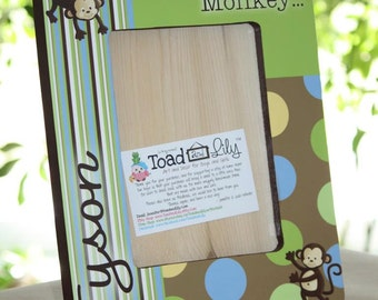 Green and Brown Pop Monkey Personalized Photo PICTURE FRAME for Kids Bedroom Baby Nursery PF0083