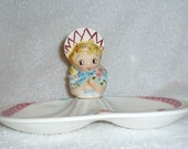 Vintage Lefton Miss Dainty Girl Divided Relish Tray Dish ESD 8677 Candy Pink Blue Napco Kitsch Cute Hard to Find