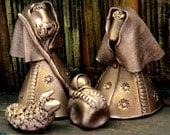 Mini Nativity, Ceramic Holy Family, Soft Copper Finish