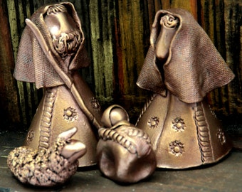 Mini Nativity, Ceramic Holy Family, Soft Copper Finish