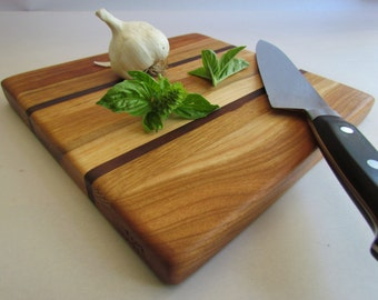 Beautiful Reclaimed Hardwoods Small HERB and GARLIC Cutting Board