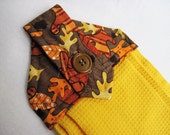 Hanging kitchen towel  button top Fall leaves gold waffle weave  towel  Quiltsy handmade