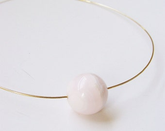 SALE Rose Quartz Neck Cuff Gold Necklace OOAK