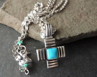 Artisan Jewelry, Sterling Silver Necklace, Handmade Silver Cross, Turquoise Cross, Silver Cross, Statement Necklace, Southwestern Style,