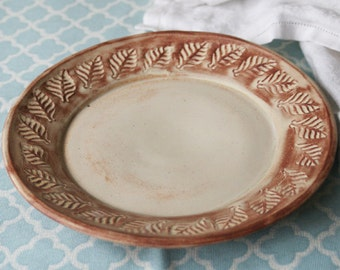 Handmade Side Plate in Earthy Brown and Cream Glaze Leaf Pattern Wheel Thrown Pottery Dish SALE Made in the USA Pottery