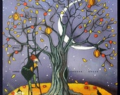 The Pumpkin Tree  A small Witch, Crow, Pumpkins Moon, Autumn, Halloween print by Deborah Gregg