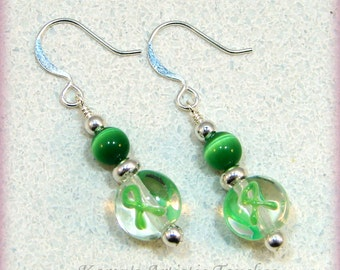 EARRINGS Cancer Awareness Beaded Green Ribbon Cerebral Palsy or Kidney Cancer