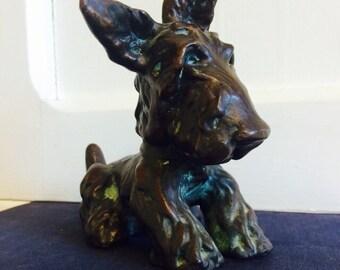 Antique Scottie or Cairn Terrier Brass Dog Figurine