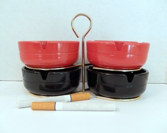 mid century ashtray set, red black, 4 ashtrays, brass plated rack, made in USA, tobacciana, never used, home decor