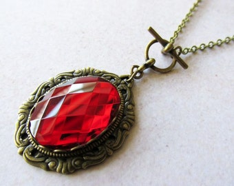 Ruby Red Glass Jewel Necklace, vintage inspired, art nouveau