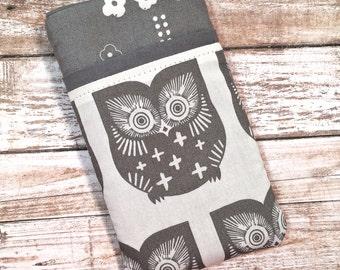 Cute Owl iPhone 7 Case, iPhone 6 Case, iPhone 6 Plus Case, iPhone Wallet, Samsung Galaxy S6, Galaxy S7 Case, Google Pixel, Gray Owl Fabric