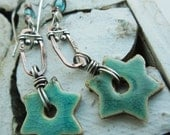 Turquoise Star Mixed Metal Earrings