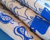 Apron/Handmade/Hand-Printed/Cotton and Burlap Linen/Germanic Motif/Royal Blue/FREE SHIPPING
