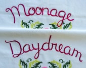 Moonage Daydream, Pillowcases, David Bowie, Hand embroidered, Ziggy Stardust, Rockstar, Boho bedroom, Bowie tribute, Vintage decor