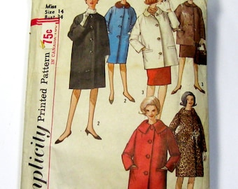 1960s Womens Coat Pattern: Misses Coat in Two Lengths, Simplicity 5103