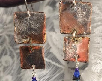 Copper and Silver Dangle Square Earrings