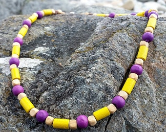 Yellow and Purple Wooden Bead Surf Style Necklace