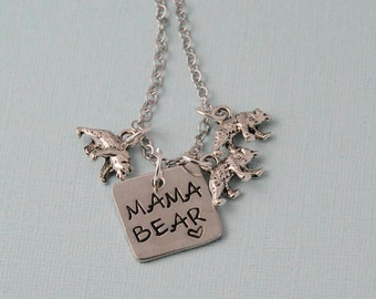 Mama Bear Necklace / Mama necklace / Mother bear necklace / silver