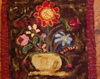 Primitive hooked rug folk art wool rug hooking hand dyed wool