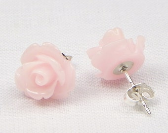 Light Pink Resin Rose Earrings - Sterling Silver - 10MM - Stud Earrings - Flower Earrings - Resin Earrings - Gift