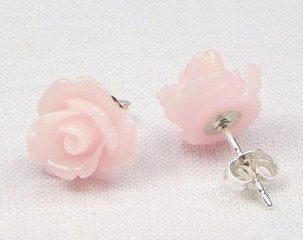 Light Pink Resin Rose Earrings - Sterling Silver - 10MM - Stud Earrings - Flower Earrings - Resin Earrings - Gift