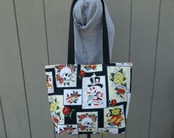 Ed Hardy Skulls and Roses Fabric  Tote Shoulder Bag