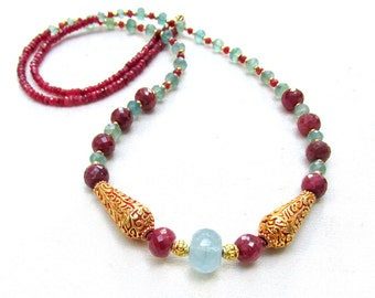 Aquamarine, Ruby, and Apatite Necklace with 22k gf Beads - Long Gemstone Necklace