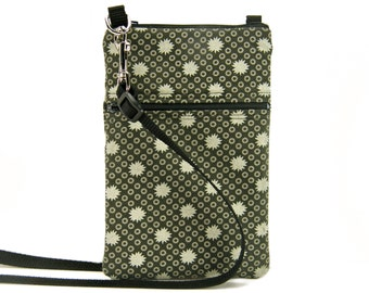 Fabric Sling Bag, Small, Grey Purse, Charcoal, Grey & Cream, Mini Hipster, Crossbody Bag, Zipper, Gadget, Travel Purse, Pouch, Zipper Purse