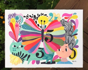 Number Friends... original watercolor / gouache painting... 9 in x 12 in...