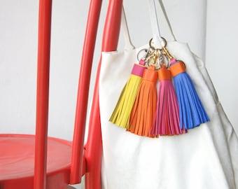 Leather tassel Keychain Bag charm Bridesmaid Gift Large Tassel Clip