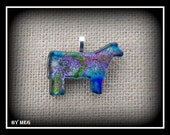 Small  Dichroic Glass Cattle Pendant