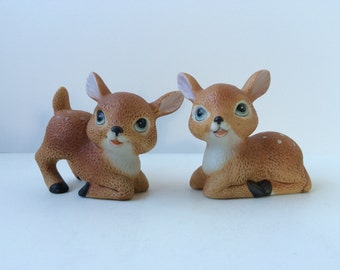Homco Deer Figurines, Set of Two Ceramic Fawns