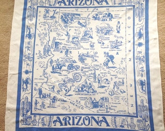 Vintage Blue Arizona Tablecloth One Color 1943 Signed