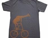 Mens Shirt -  GIRAFFE tall BIKE T Shirt X S S M L Xl X X L (Asphalt Gray)