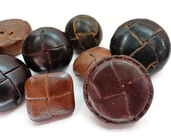 Leather Vintage Buttons - 11 Preppy Blazer Coat Jacket Buttons in Warm Chocolate Brown