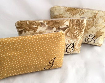 Set of (3) Gold Bridesmaids Bags with Monogram Handbag for Bridesmaids Design your own custom bridesmaids gift