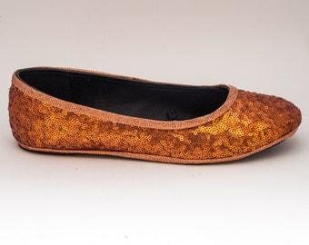 Tiny Sequin   Starlight Orange Ballet Flats Slippers Shoes