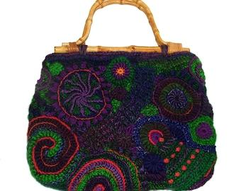 Freeform Crochet Handbag OOAK Women's Freeform Crochet wearable art