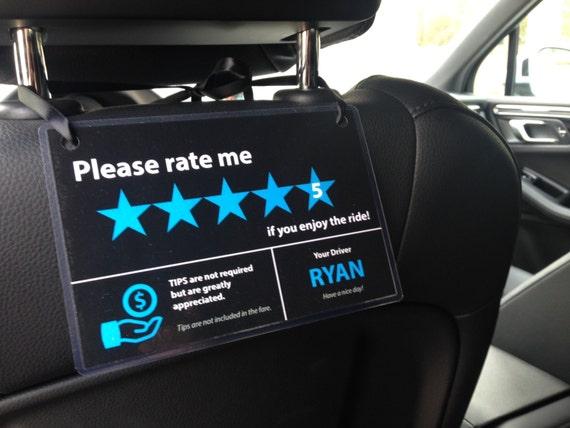 2 X Uber Lyft Tips 5 Stars Rating Sign Car Headrest Display