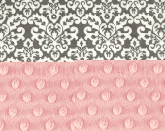 30 x 30 Minky Baby Blanket, Personalized  Pink & Gray Damask receiving blanket