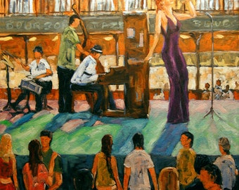 Love of Jazz - Bourbon Street, New Orleans, Large Oil Painting