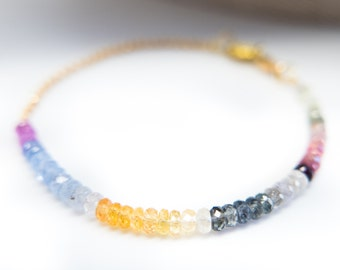 Sapphire Bracelet Solid Gold Jewelry Sapphire Jewelry September Birthstone Natural Colored Sapphire Gift for Wife Mother Gemstone Bracelet