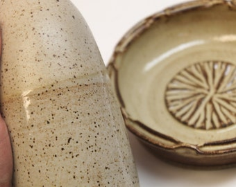 Ceramic Olive Oil bottle and Garlic Plate Set -  Sandy tan color combination with food grade spout  -  Ready to Ship In Photo