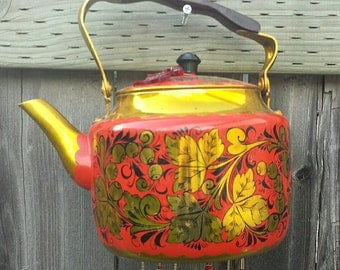 Red & Gold Russian - tea kettle Upcycled into a Windchime