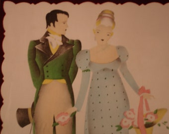 Vintage Art Print     Couple in Love    Colonial  Nice Shape!