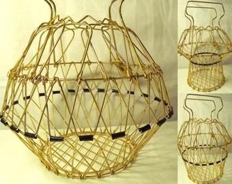 Vintage Collapsable Gold Coated Egg Gathering Basket, Metal, Made in France by Erdecor