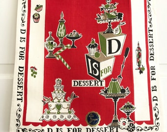 Vintage Tea Towel D is for Desserts Cakes Pies Kitchen Decor NOS New Old Stock