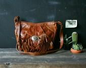 Fringe Crossbody Purse Bohemian Fashion Brown Leather Saddlebag Style Vintage From Nowvintage on Etsy