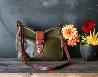 Vintage Coach Leather Purse Green and Tan Crossbody Strap Vintage from Nowvintage on Etsy