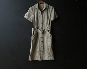 Vintage Camp Dress Khaki Short Sleeves Button Down Front Belted Front Pockets The Limited Vintage From Nowvintage on Etsy